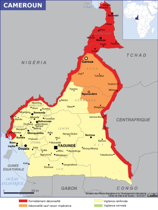 carte cameroun securité