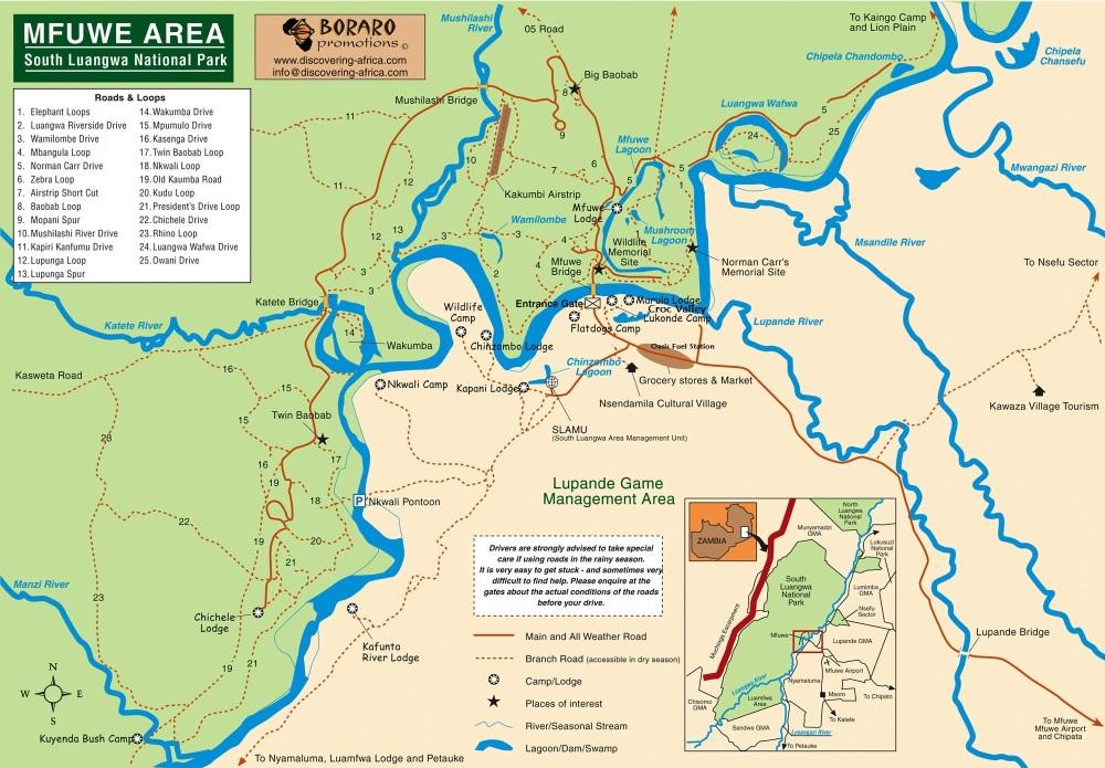South-Luangwa-secteur mfuwe-carte